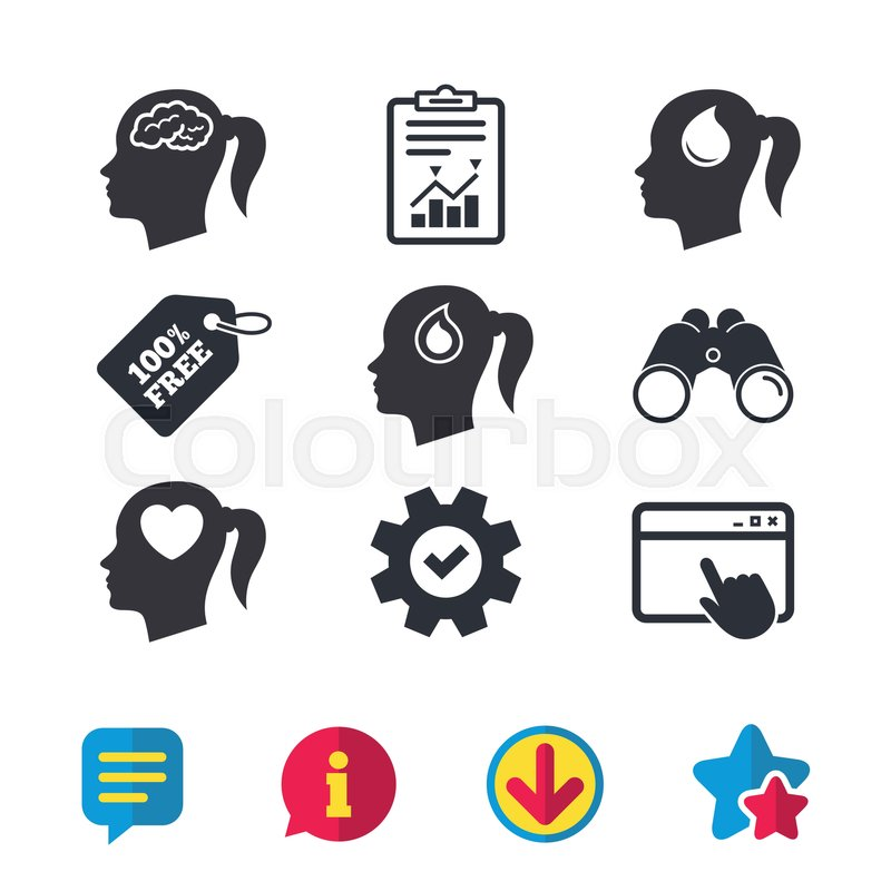 Head With Brain Icon Female Woman Think Symbols Blood Drop