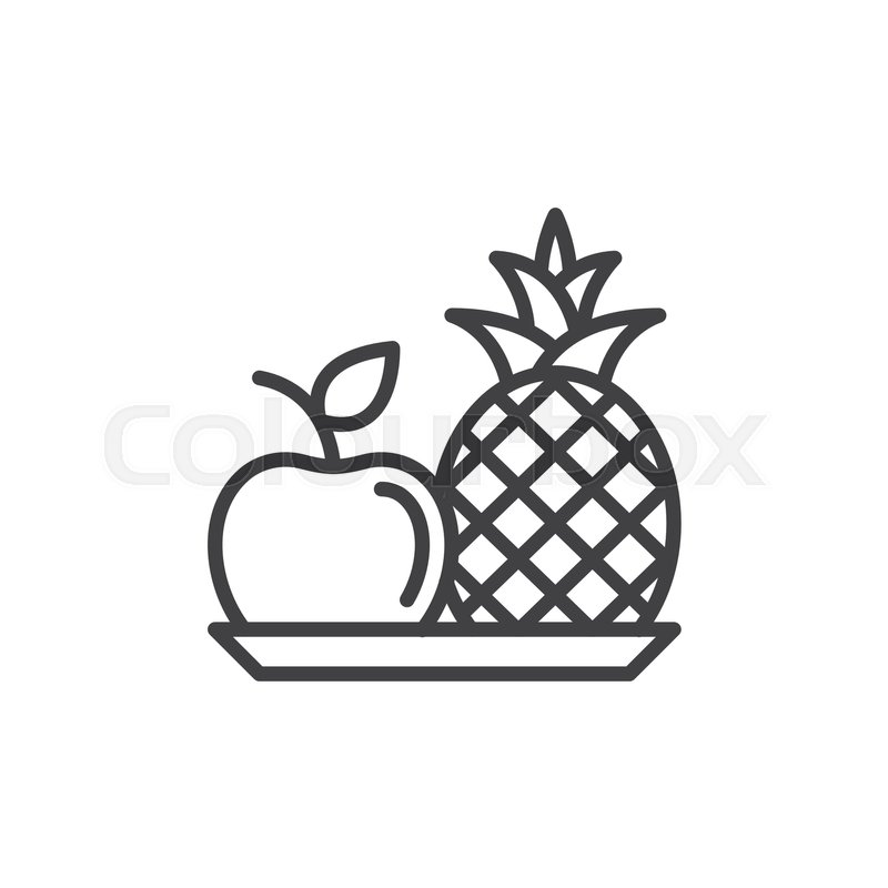 apple logo outline vector. pineapple and apple line icon, outline vector sign, linear style pictogram isolated on white. fruits plate symbol, logo illustration. editable stroke. r