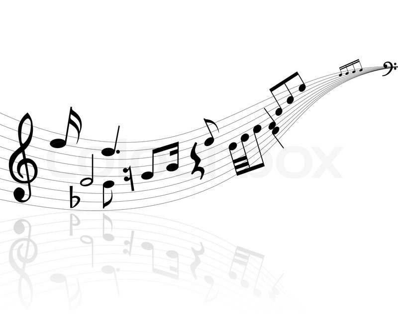 Black And White Music Notes Background Stock-Vektor von 'Note...