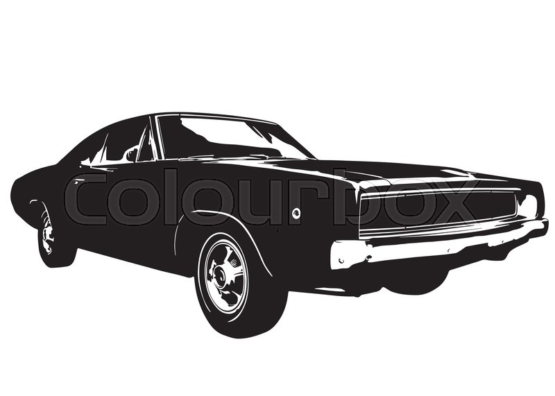 American Vintage Muscle Car Silhouette Stock Vector Colourbox