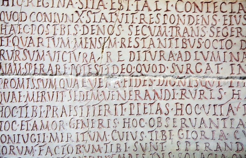 Pre- christian lateinische Schrift auf dem Grabstein