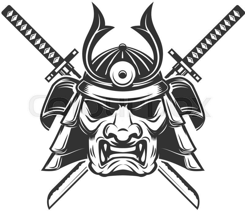 Samurai Mask With Crossed Swords