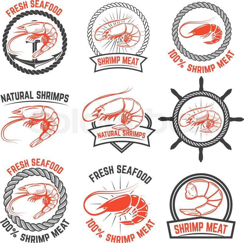 Set Of The Shrimps Meat Labels ...