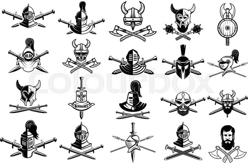 Knight logo set skull in horned helmet crossed axes for Crossed swords tattoo