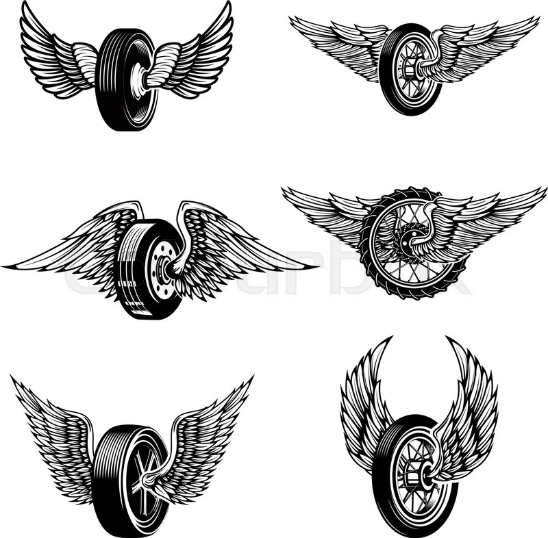 Set Of Winged Car Tires On White ...