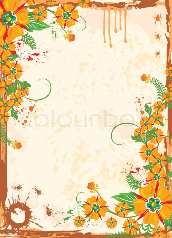Abstract Grunge Floral Frame With Bug Element For Design