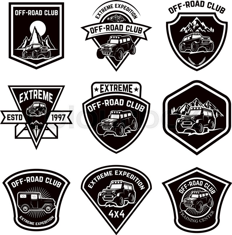 Set Of Four Off Road Suv Car Emblems Extreme Adventure Club Vector