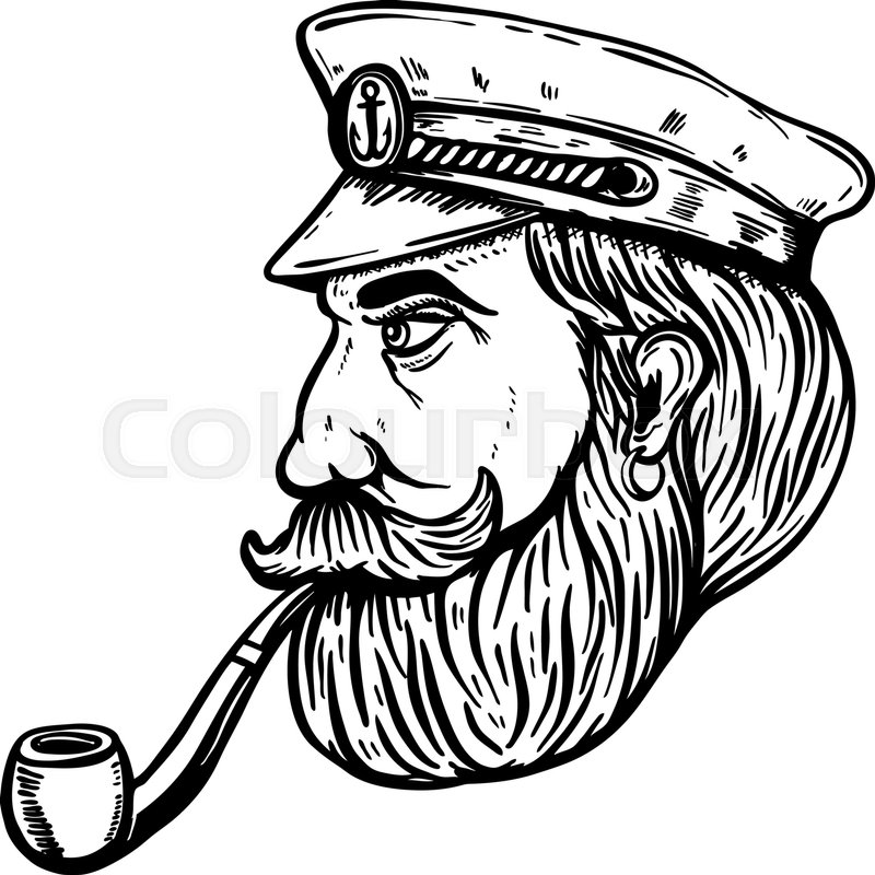 6dce123fed0 Illustration of sea captain with smoking pipe isolated on white background.  Design element for poster
