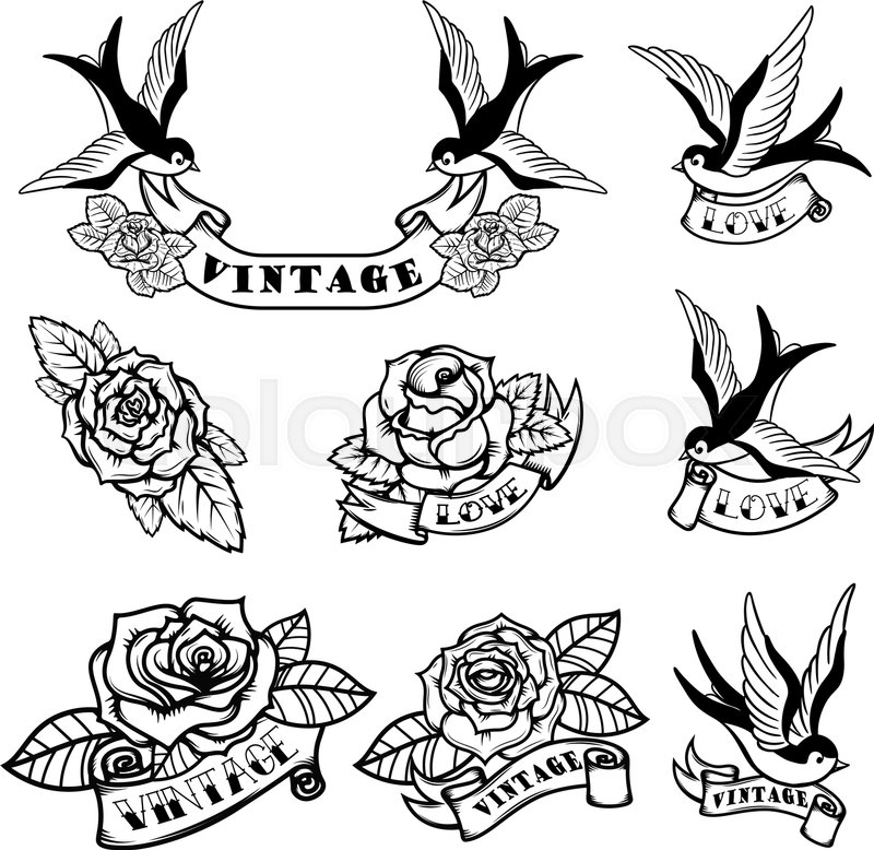 set of tattoo templates with swallows and roses old. Black Bedroom Furniture Sets. Home Design Ideas