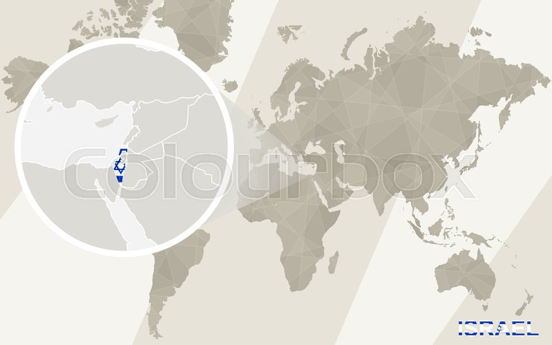 Zoom on Israel Map and Flag. World Map. | Stock Vector | Colourbox