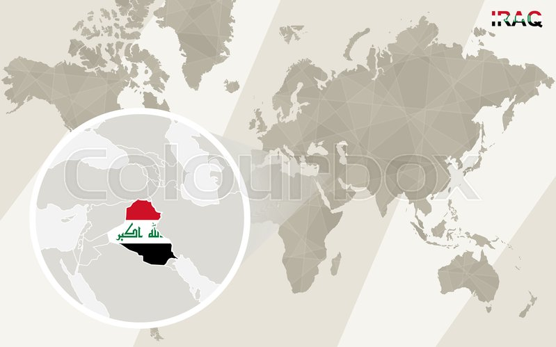 Zoom on Iraq Map and Flag World Map Stock Vector Colourbox