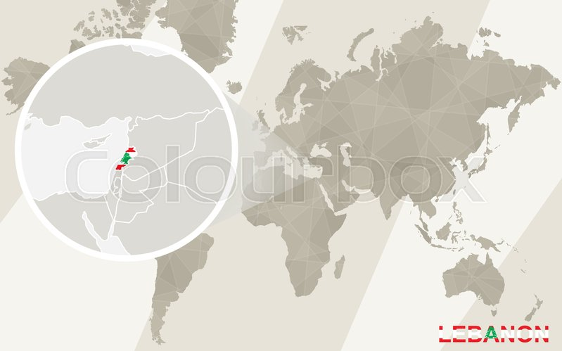 Zoom on lebanon map and flag world map stock vector colourbox sciox Gallery