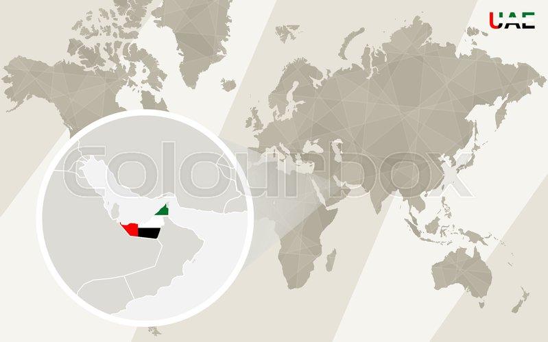 Zoom on united arab emirates map and flag world map stock vector stock vector of zoom on united arab emirates map and flag world map gumiabroncs Choice Image