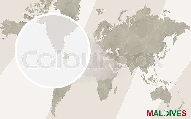 Zoom on Maldives Map and Flag. World Map. | Stock Vector | Colourbox