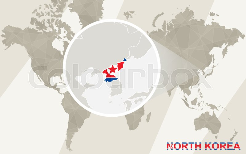 Zoom on north korea map and flag world map stock vector colourbox gumiabroncs Images