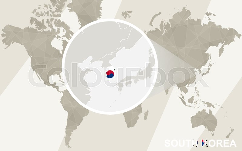 Zoom on south korea map and flag world map stock vector colourbox stock vector of zoom on south korea map and flag world map gumiabroncs Choice Image