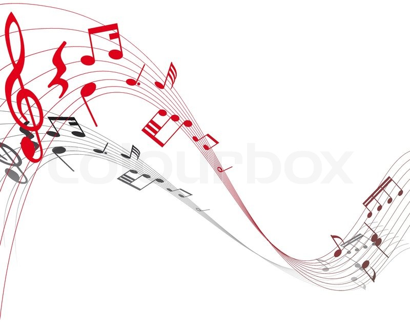 Musical note staff on the red background   Stock Vector