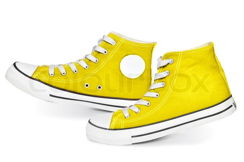58bb35530095e4 New yellow sneakers isolated on white background