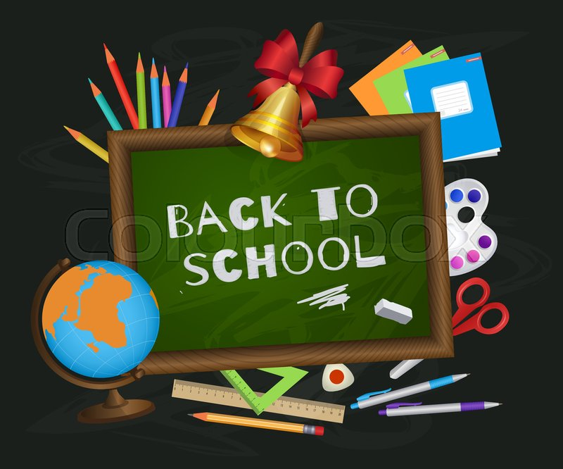 Back to school banner poster greeting card design with blackboard back to school banner poster greeting card design with blackboard chalk written text and student items cartoon vector illustration m4hsunfo