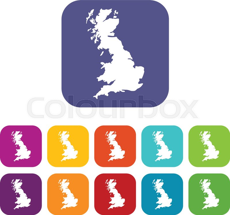 map of great britain icons set vector illustration in flat style in