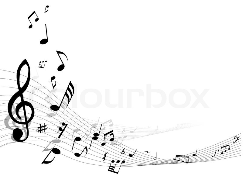 musik hintergrund mit verschiedene noten auf dem wei u00dfen