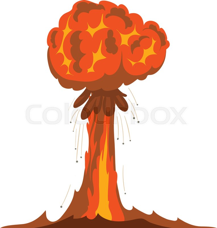 Atomic explosion icon. Cartoon illustration of atomic explosion ...