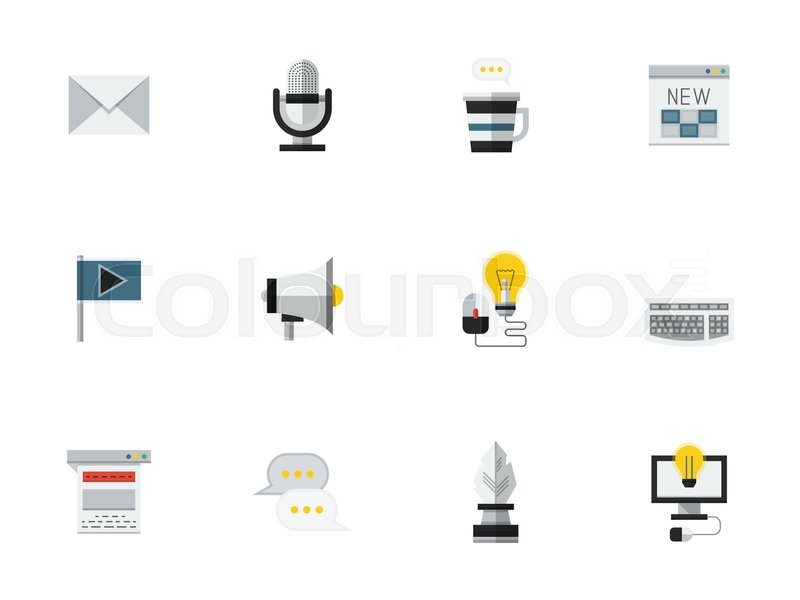 Set Of Symbols For Social Media And Blogging Elements For Web Page