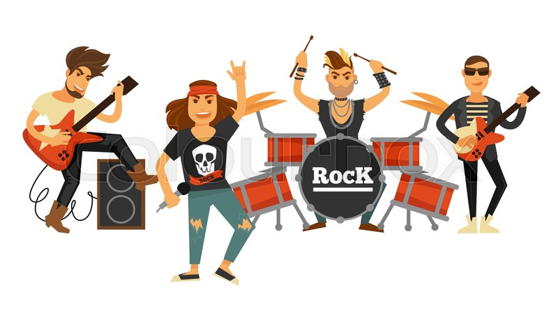Rock Band Musicians And Singers Playing Musical
