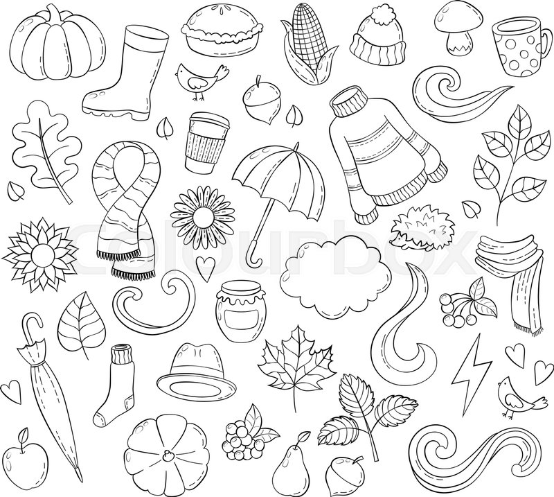 Set Autumn Hand Drawn Doodle Illustrations Background Template Backdrop Wallpaper Icon Collection Freehand Sketch For Adult Anti Stress Coloring Book