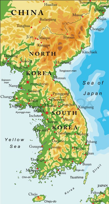 Highly detailed vector map of Korean peninsula with administrative ...
