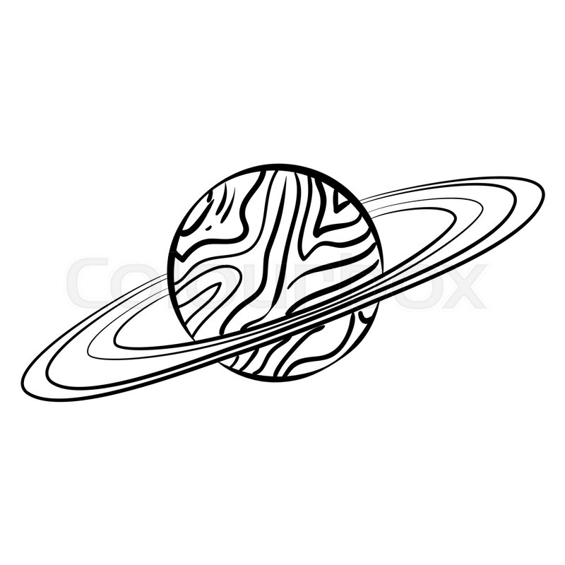 vector outline saturn planet with
