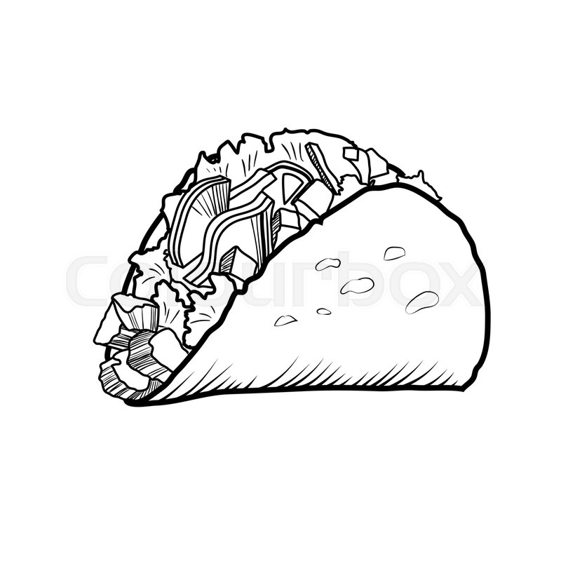 Sketch Hand Drawn Illustration Of Taco. Mexican Fast Food
