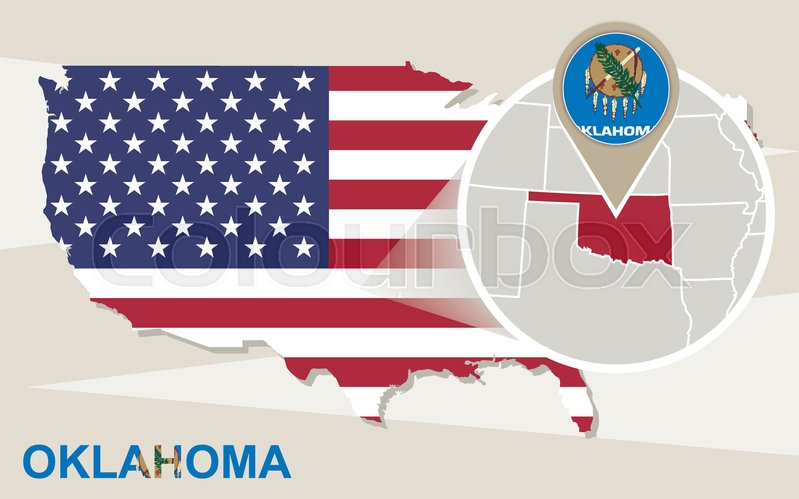 stock vector of usa map with magnified oklahoma state oklahoma flag and map