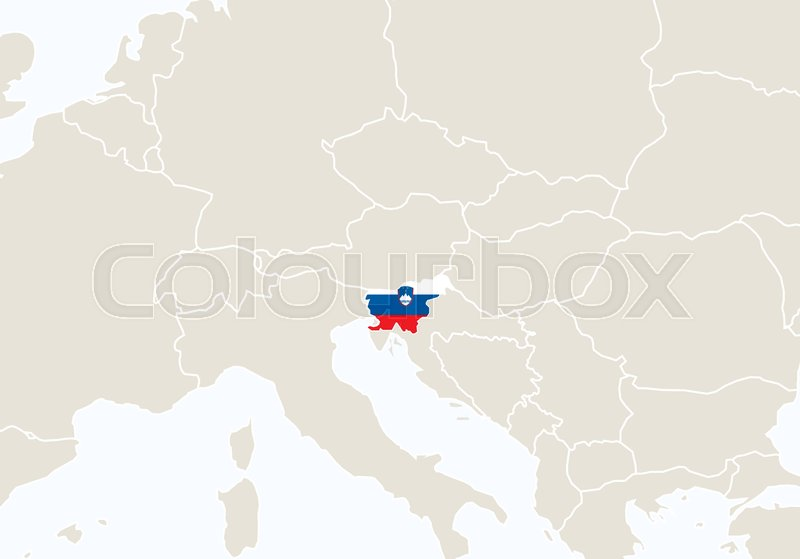 Europe with highlighted Slovenia map. ...   Stock Vector   Colourbox