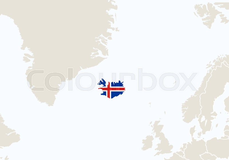 Europe with highlighted Iceland map. ...   Stock vector ...