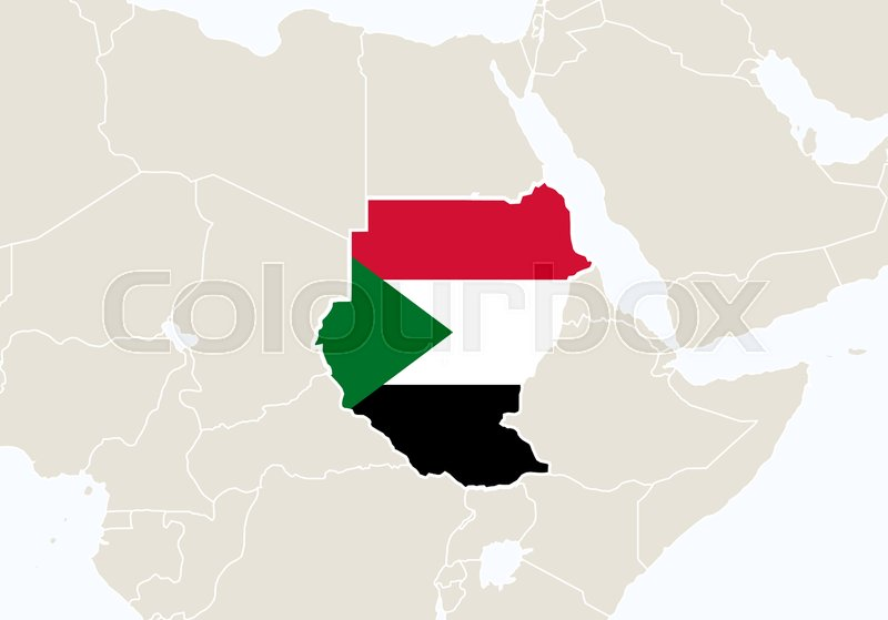 Africa with highlighted Sudan map. ... | Stock Vector | Colourbox
