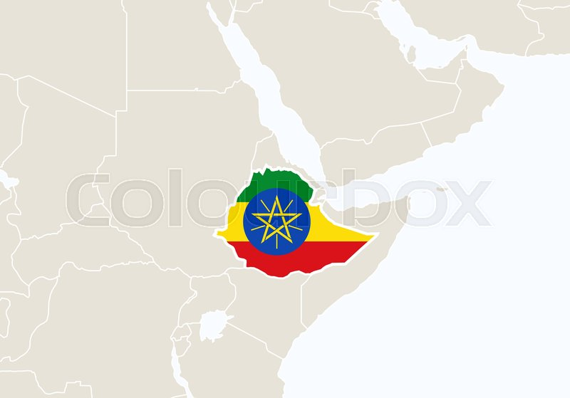 Africa with highlighted Ethiopia map.    Stock vector   Colourbox