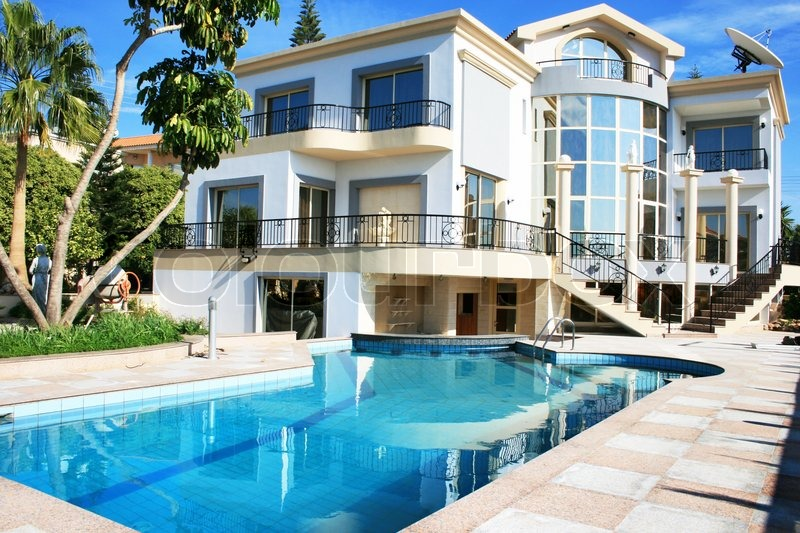 Luxurious villa and swimming pool in cyprus stock photo for Camping belle ile en mer avec piscine