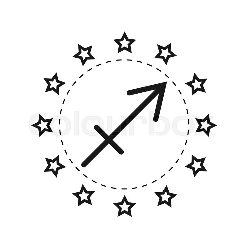 Sagittarius Sign Of The Zodiac Flat Symbol Horoscope And