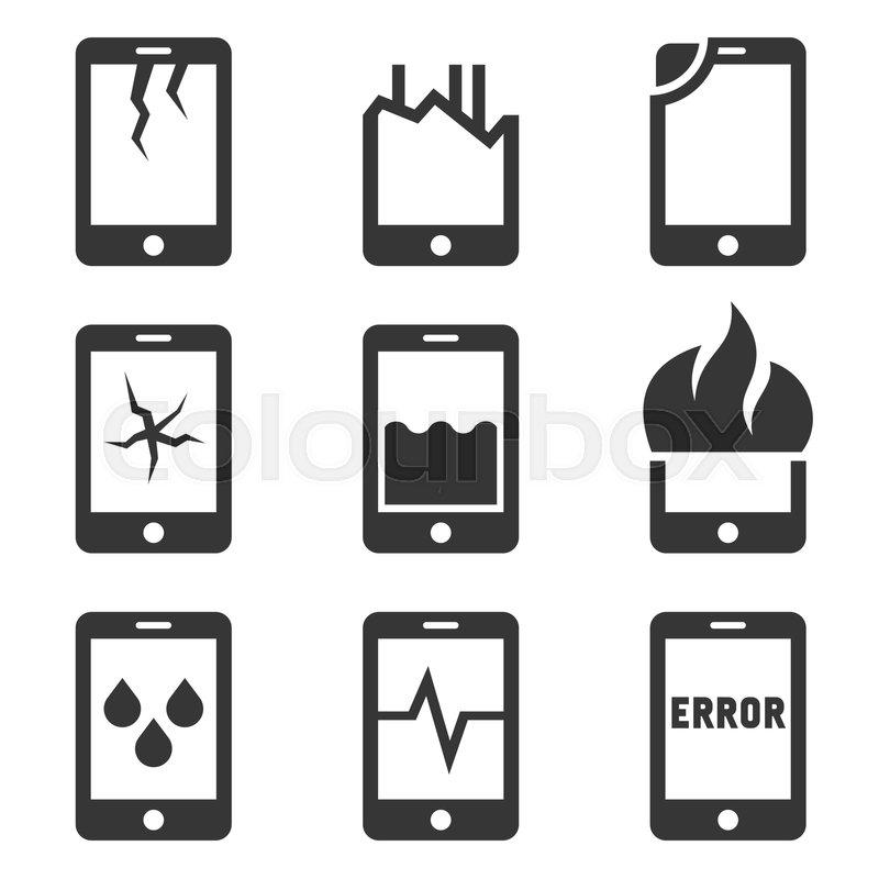 mobile phone damage icon set  vector illustration