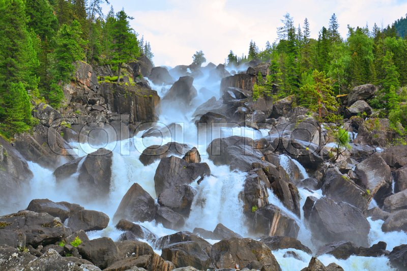 Stock image of 'Uchar Waterfall on the Chulcha River, The Big Chulchinsky. Altai, Russia'