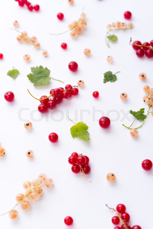 Stock image of 'Top View Picture of mix of berries isolated over white background table.'