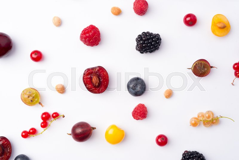 Stock image of 'Picture of mix of berries isolated over white background table.'