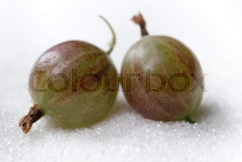 Stock image of 'Photo of gooseberry isolated over white sugar background.'