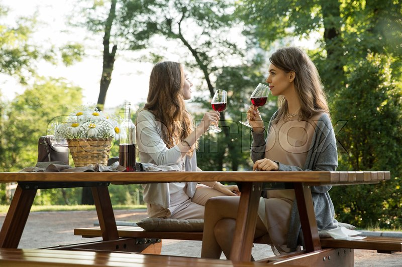 Stock image of 'Photo of amazing young two women sitting outdoors in park drinking wine. Looking aside.'