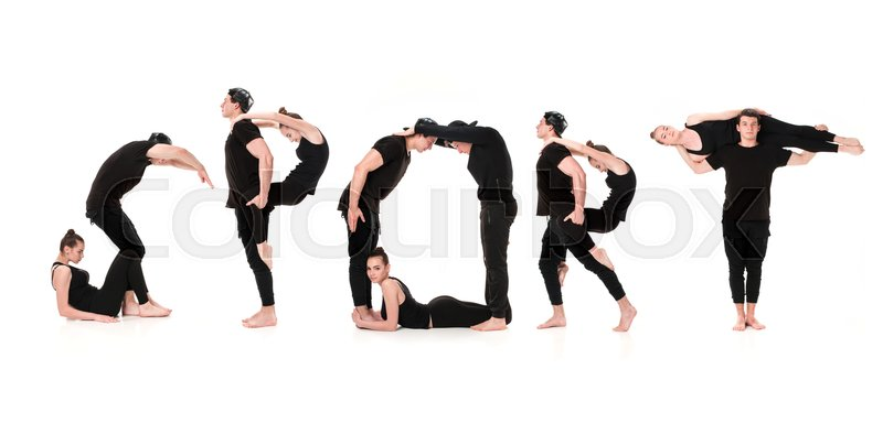 Stock image of 'The word SPORT formed by Gymnast bodies on white studio background'