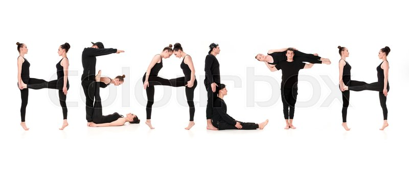 Stock image of 'The word HEALTH formed by Gymnast bodies on white studio background'