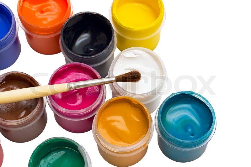 bunten gouache farbe und pinsel auf wei em hintergrund stock foto. Black Bedroom Furniture Sets. Home Design Ideas