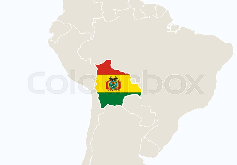South America with highlighted Bolivia map Vector Illustration