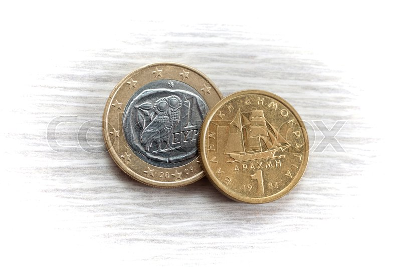 Stock image of '1 Euro and 1 Drachma'